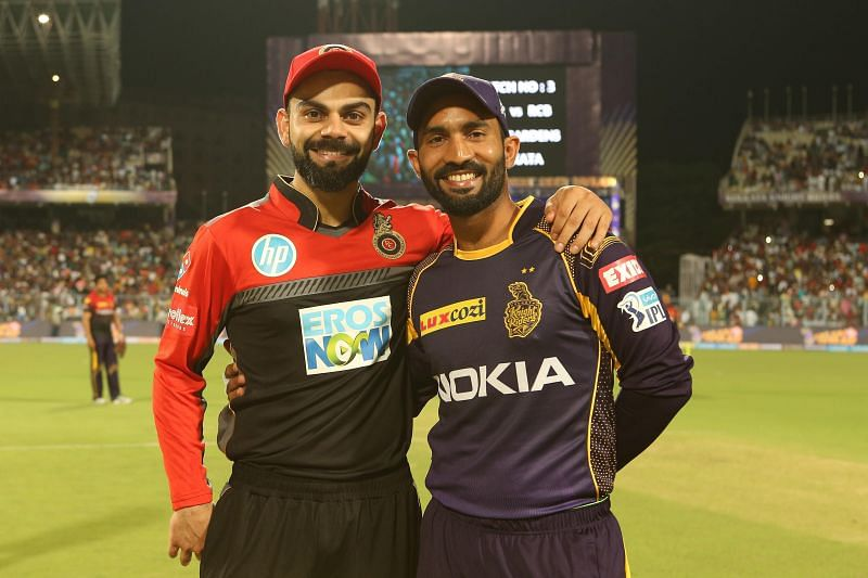 Virat Kohli and Dinesh Karthik were pictured on the latest IPL 2020 graphic released on Twitter