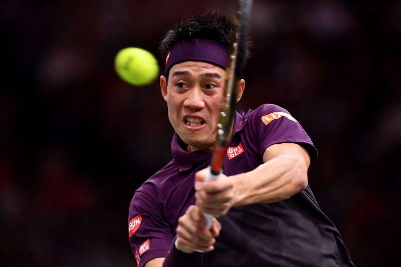 Kei Nishikori at the 2018 Paris Masters