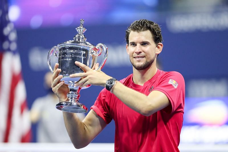 Dominic Thiem with the US Open trophy on Sunday