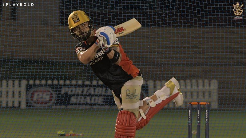 RCB captain Virat Kohli was seen batting ahead of IPL 2020 [PC: RCB Twitter].