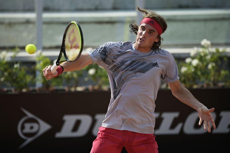 Stefanos Tsitsipas hits a backhand at the Rome Masters