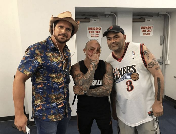 John Morrison, Rey Mysterio, and Konnan on the Jericho Cruise in 2018
