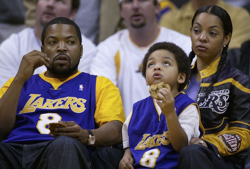 Ice Cube and his family at a LA Lakers game