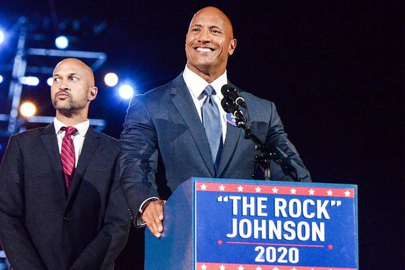 The Rock makes his point (Pic Source: Kevin Mazur/Getty Images)