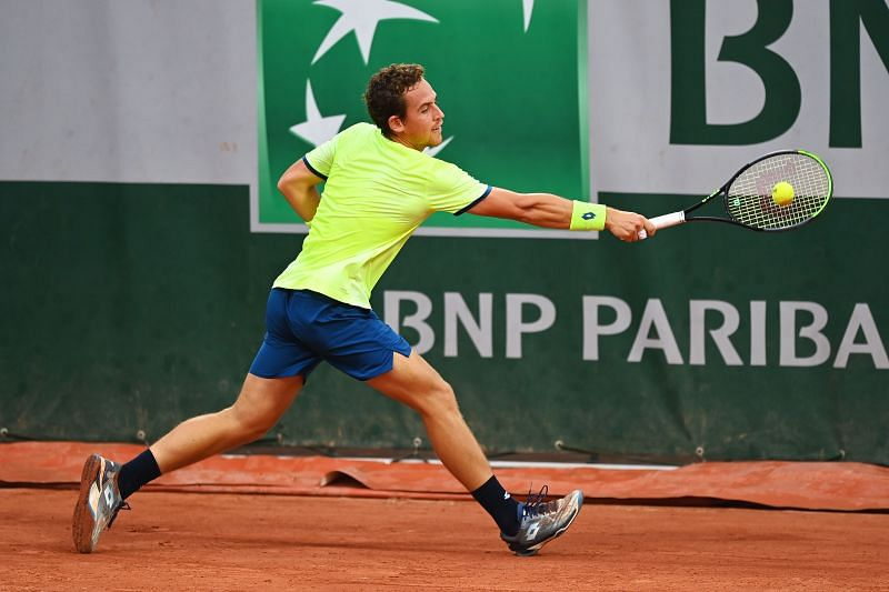 Roberto Carballes Baena during his first round match at the French Open