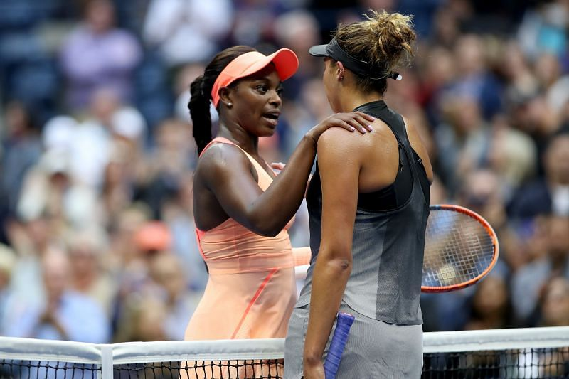 Sloane Stephens and Madison Keys after the 2017 US Open final which Stephens won