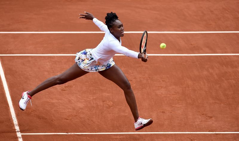 Venus Williams against Anna Schmiedlova at the French Open in 2014