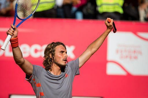 Stefanos Tsitsipas after beating Pablo Cuevas to win the ATP 250 event in Estoril