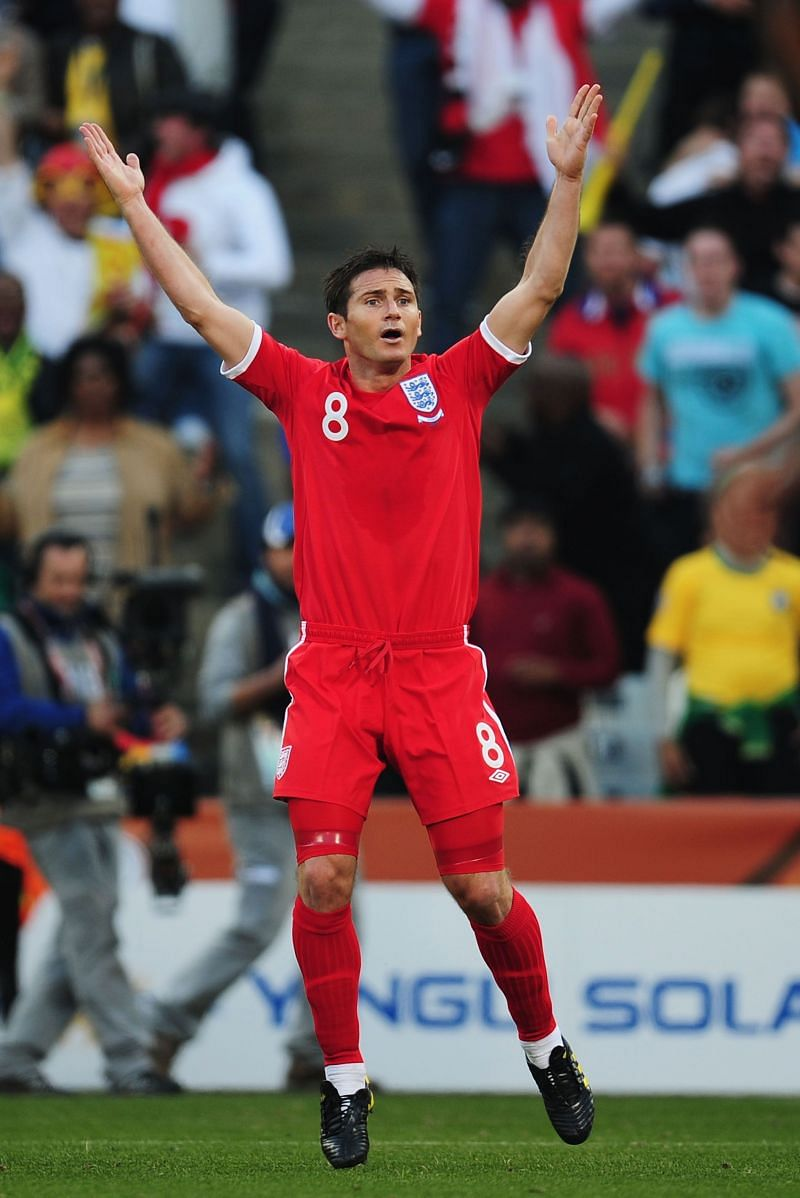 Lampard in disbelief after his goal against Germany was disallowed.