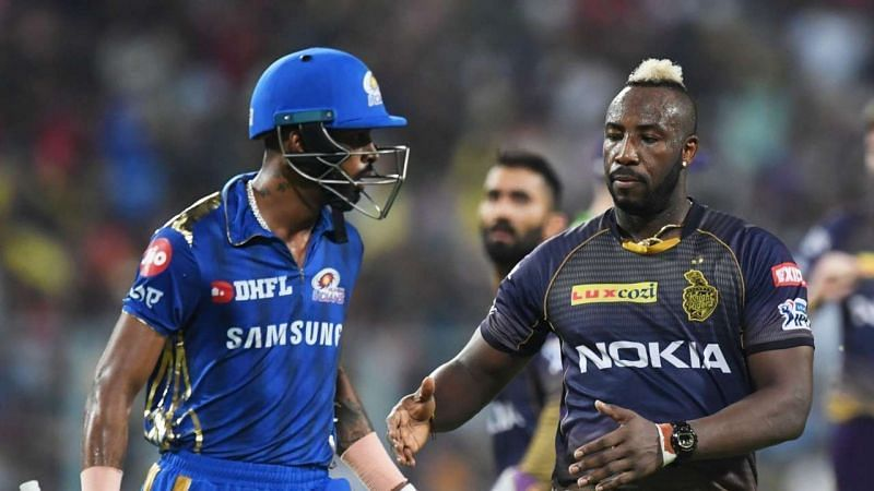 Hardik Pandya(L) and Andre Russell(R) will be extremely popular IPL Fantasy picks.