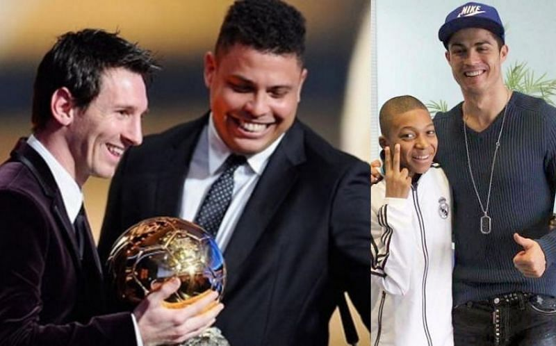 Messi with Ronaldo Nazario and a young Kylian Mbappe with Cristiano Ronaldo