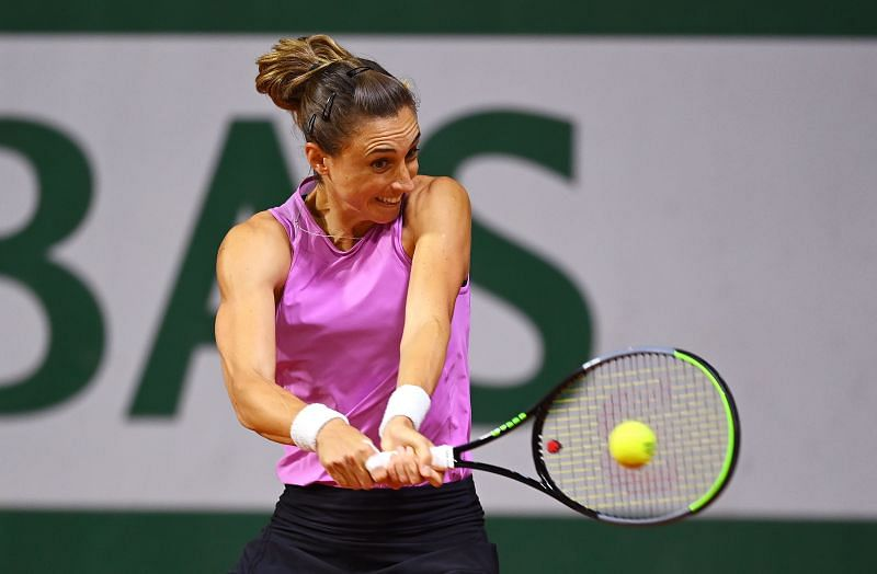Petra Martic plays a backhand