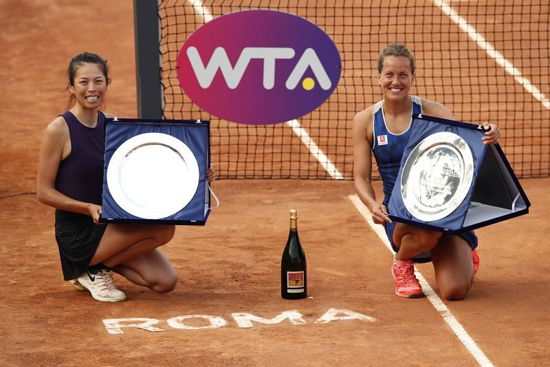 Barbora Strycova (right) and Su-Wei Hsieh celebrate winning the doubles title at the 2020 Italian Open.