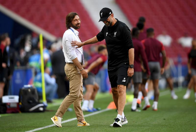 Andrea Pirlo (left), with Jurgen Klopp.