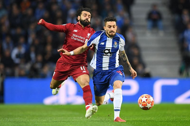Telles in action against English champions Liverpool in the UCL