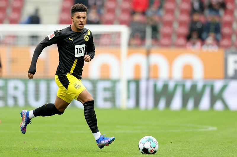 Jadon Sancho in action for Borussia Dortmund vs FC Augsburg