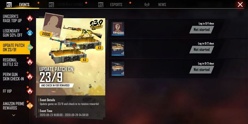 Free Login Rewards for updating the game (Image Credits: Garena Free Fire)