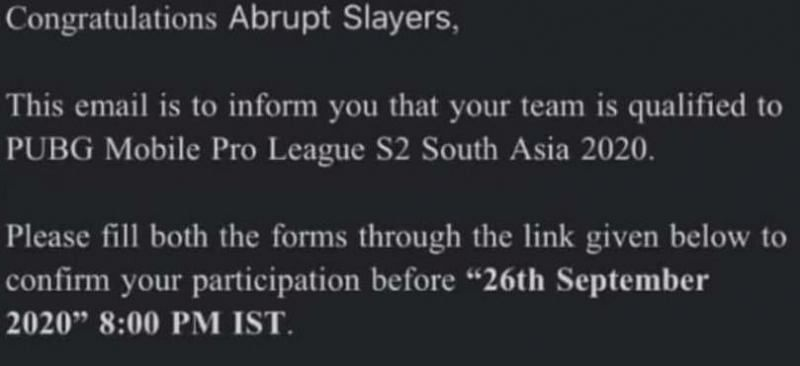 Invited received by Abrupt Slayers