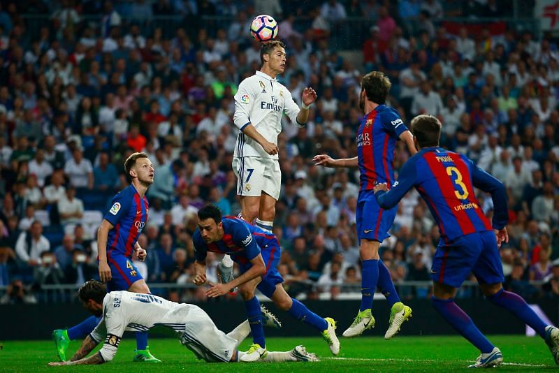 Cristiano Ronaldo towers to head the ball.