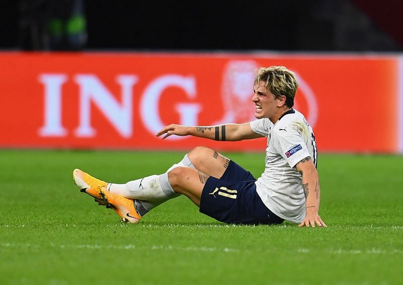 Zaniolo was taken off after an injury late in the first half