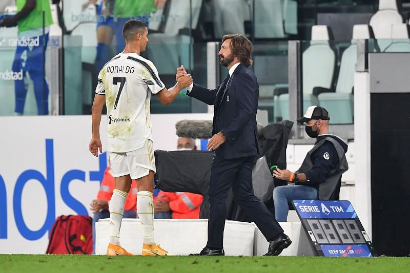 Cristiano Ronaldo and Juventus manager Andrea Pirlo