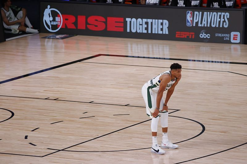 Giannis faces a 0-2 deficit headed into the third semi-final game against the Miami Heat