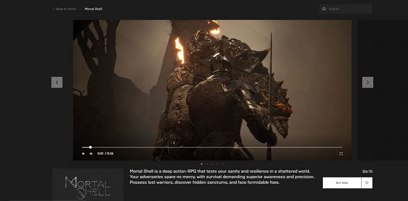 Mortal Shell on Epic Games Store
