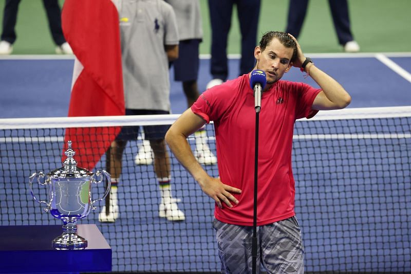 Dominic Thiem gives his speech after winning the US Open