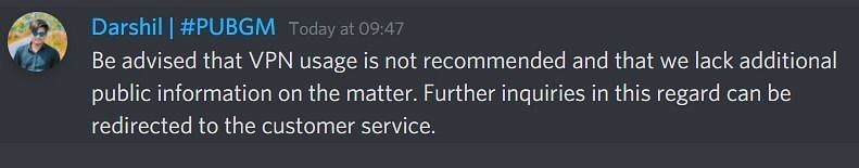 Response of discord moderator
