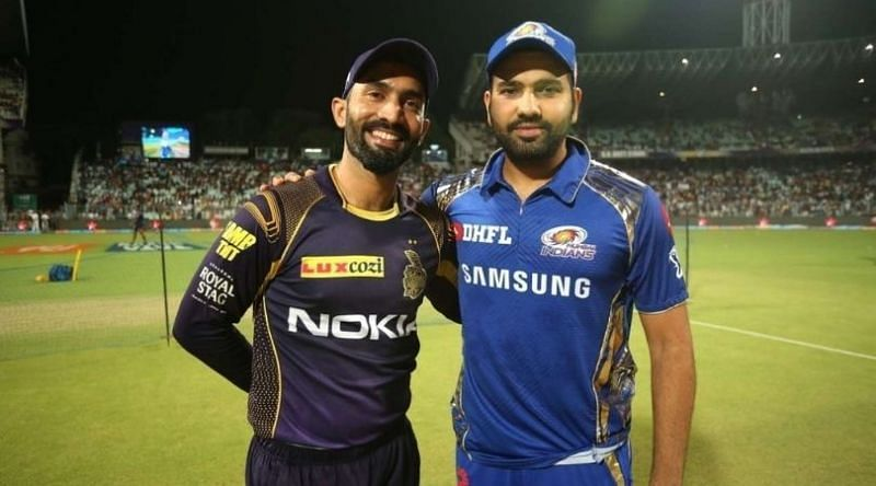 Dinesh Karthik and Rohit Sharma will lead their teams out in the KKR v MI game (image: The SportsRush)