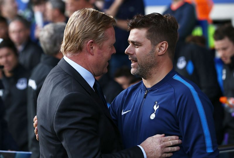 Ronald Koeman (left) with Mauricio Pochettino during his Everton days.