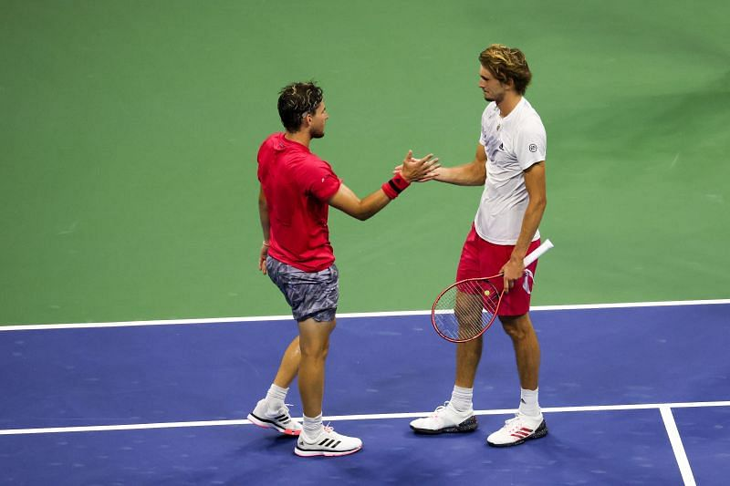 Dominic Thiem (L) and Alexander Zverev after the 2020 US Open final