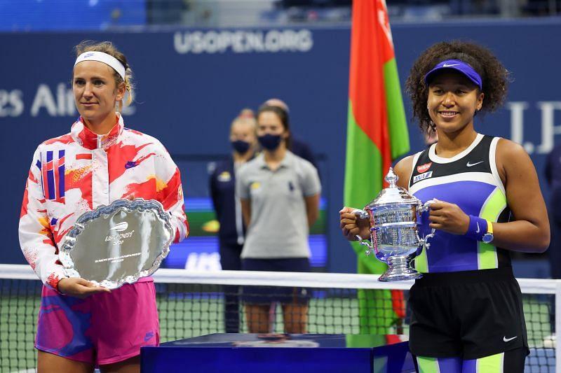 Victoria Azarenka (left) and Naomi Osaka at the US Open 2020 prize distribution ceremony