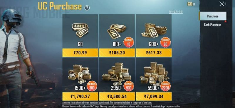Prices of UC in PUBG Mobile KR