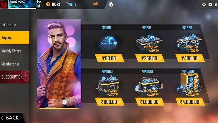 Free Fire shop section