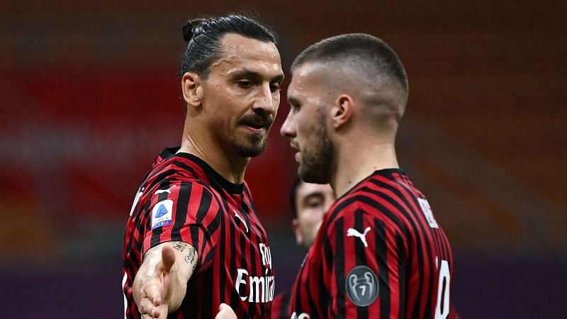 Zlatan Ibrahimovic and Milan team-mate Ante Rebic