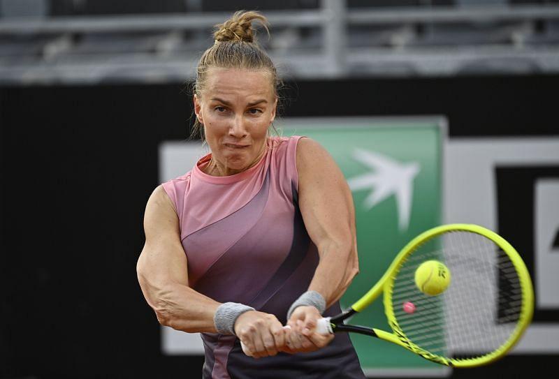 Svetlana Kuznetsova during her first-round win at the Italian Open earlier this week.