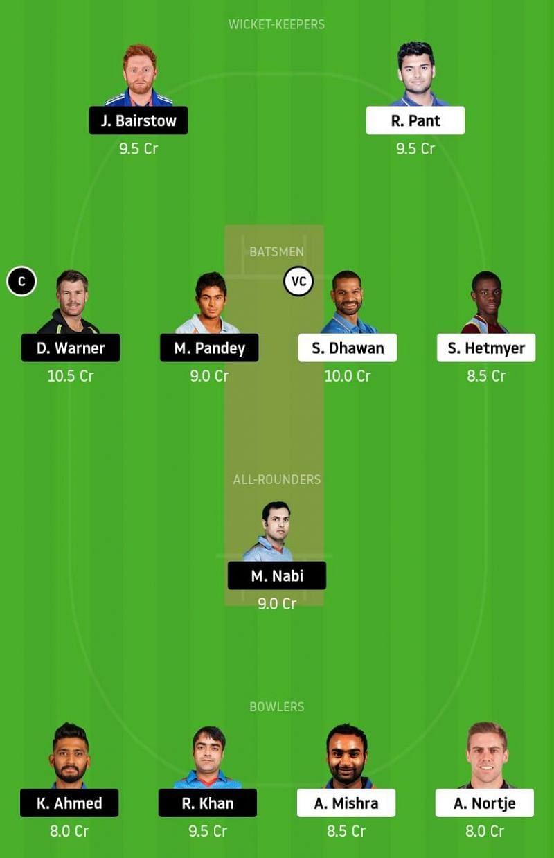 DC vs SRH IPL Dream11 Tips