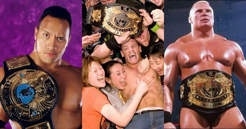 The Rock, John Cena and Brock Lesnar with their first world titles.