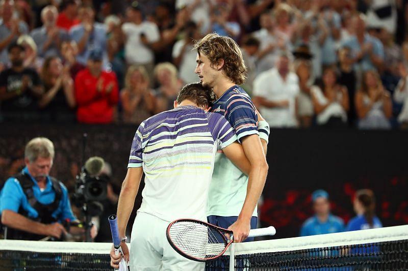 Dominic Thiem (L) and Alexander Zverev at the 2020 Australian Open