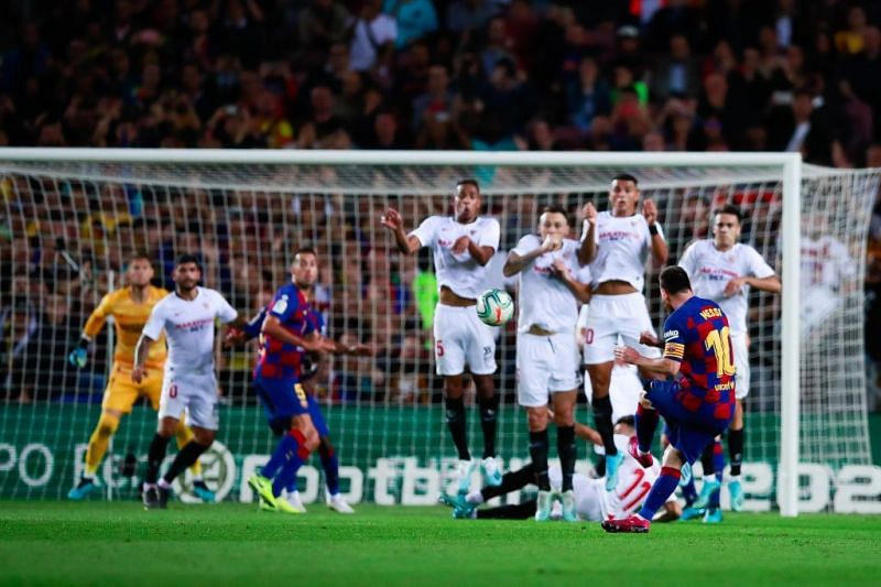 Lionel Messi opened his 2019-20 La Liga account with a sumptous freekick against Sevilla.