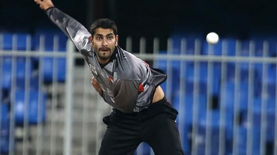 UAE captain Ahmed Raza is a left-arm orthodox spinner. (Image Credits: N Sport)