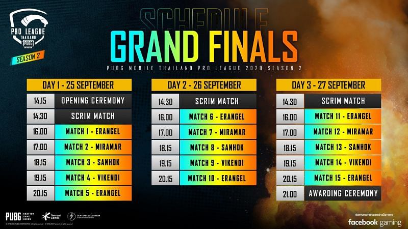 PMPL S2 Thailand Grand Finals schedule