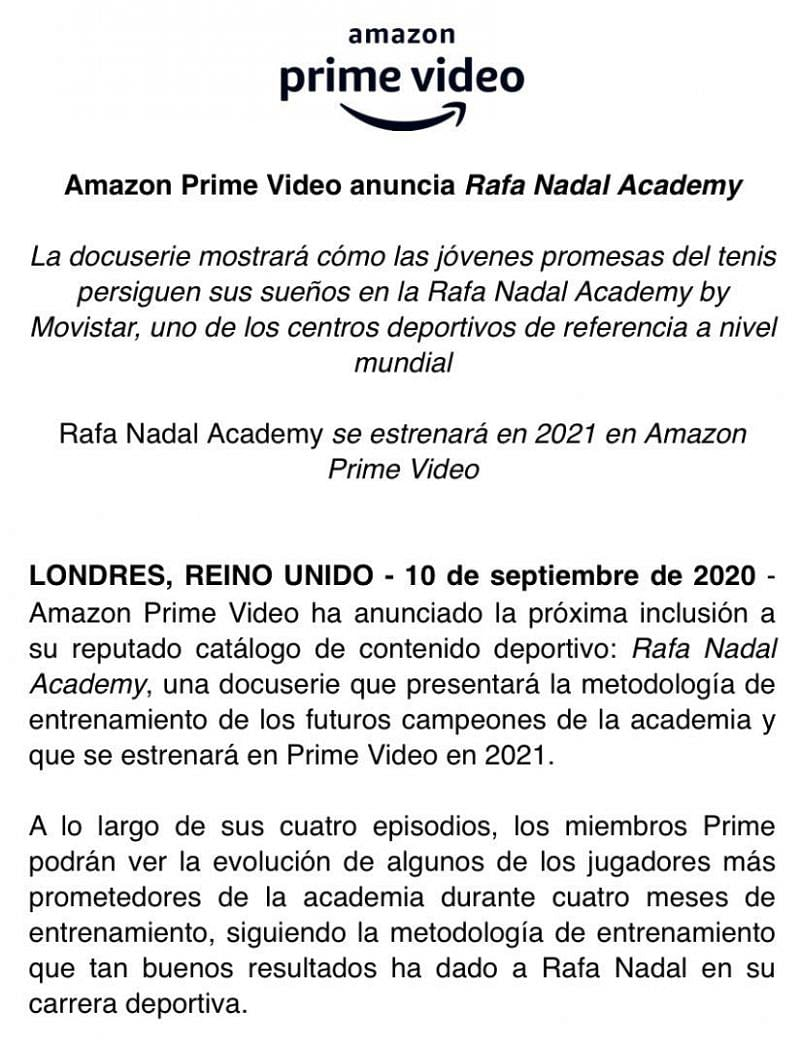 The announcement by Amazon Prime on the docu-series