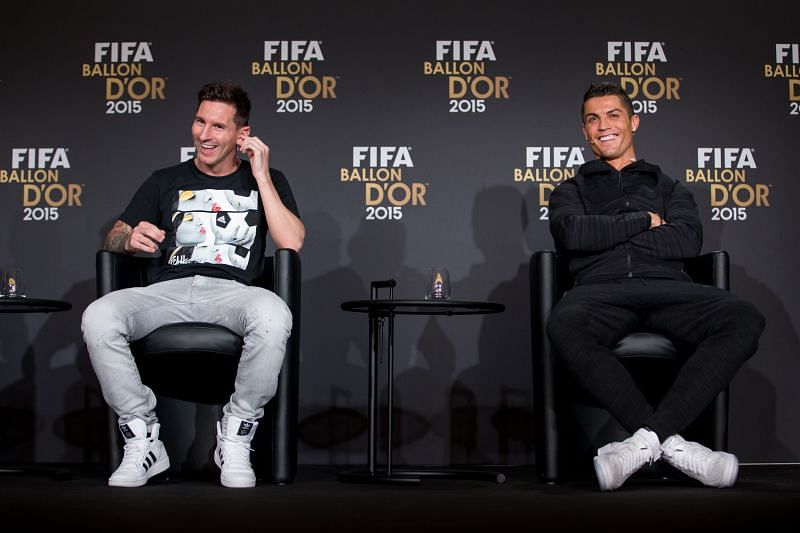 Lionel Messi of Argentina and FC Barcelona (L) and Cristiano Ronaldo of Portugal and Juventus (R)