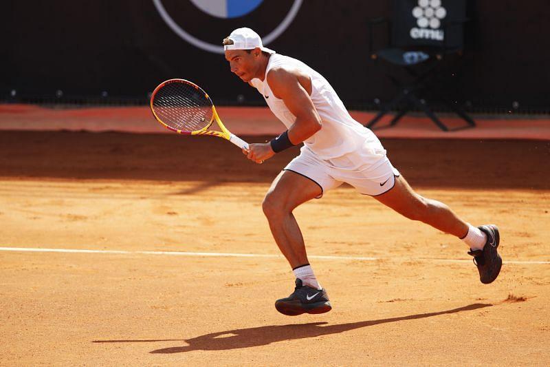 Rafael Nadal practising ahead of the Rome Masters