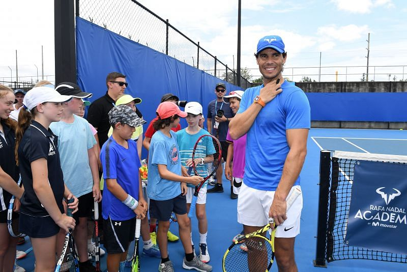 Rafael Nadal with students of his Academy