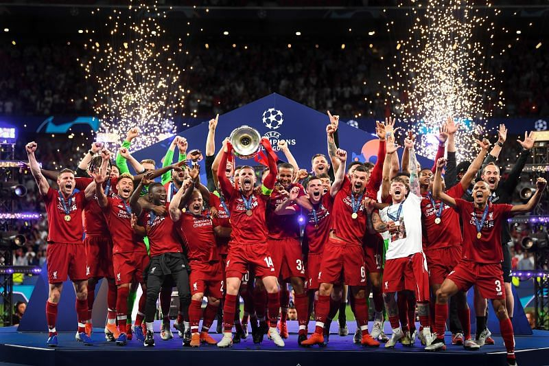 Liverpool players celebrate their UEFA Champions League triumph in the 2018/19 season