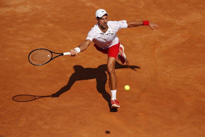 Novak Djokovic in action at Rome