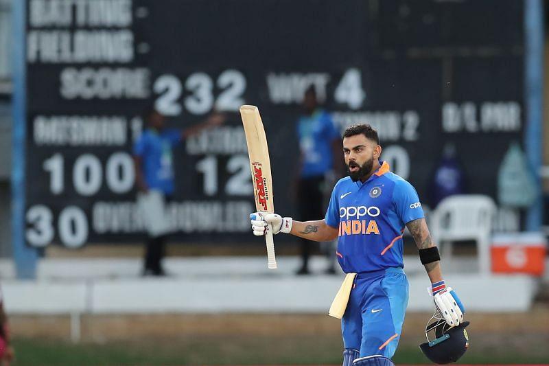 West Indies v India - Virat Kohli after hitting his 43rd ODI hundred